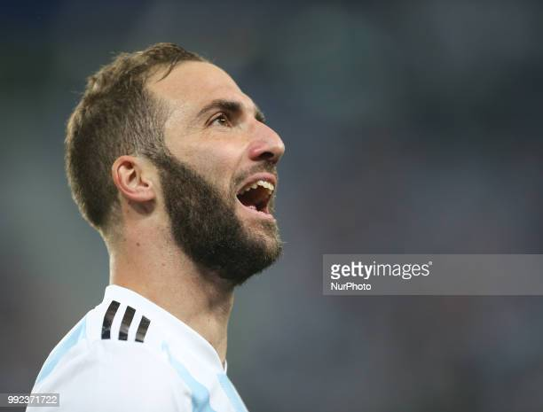 Gonzalo Higuain during the 2018 FIFA World Cup Russia group D match between Nigeria and Argentina at Saint Petersburg Stadium on June 26 2018 in...