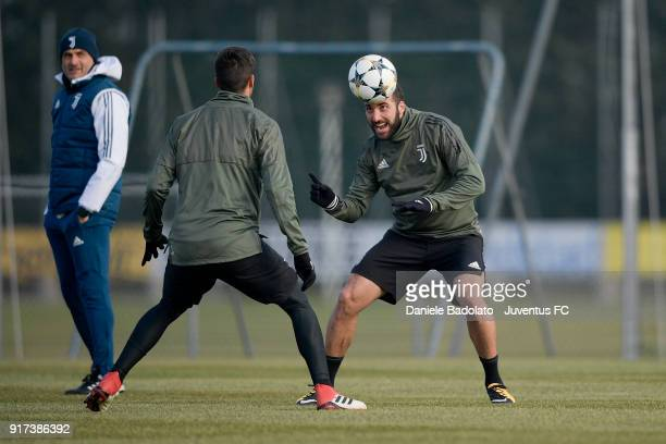 Gonzalo Higuain during the Champions League training session at Juventus Center Vinovo on February 12 2018 in Vinovo Italy