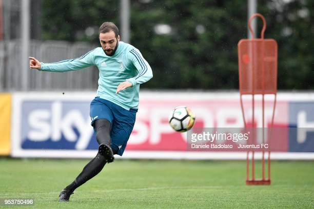 Gonzalo Higuain during the Juventus training session at Juventus Center Vinovo on May 2 2018 in Vinovo Italy