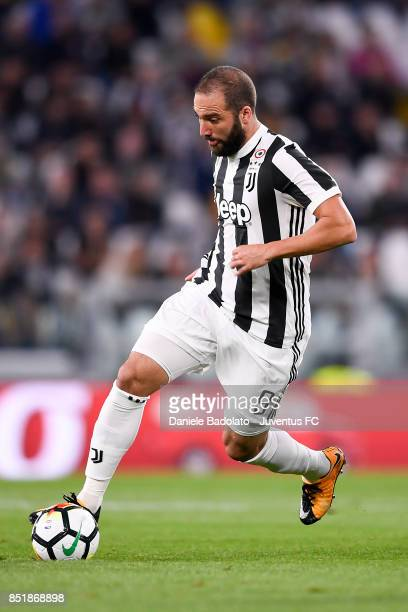 Gonzalo Higuain during the Serie A match between Juventus and ACF Fiorentina on September 20 2017 in Turin Italy