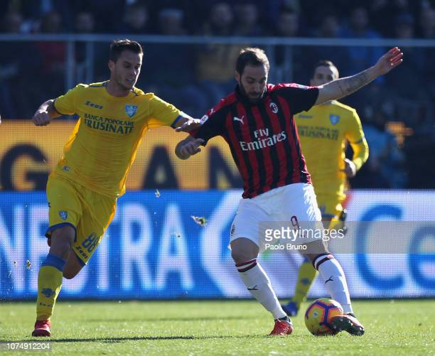 Gonzalo Higuain of AC Milan competes for the ball with Lorenzo Grisetig of Frosinone Calcio during the Serie A match between Frosinone Calcio and AC...