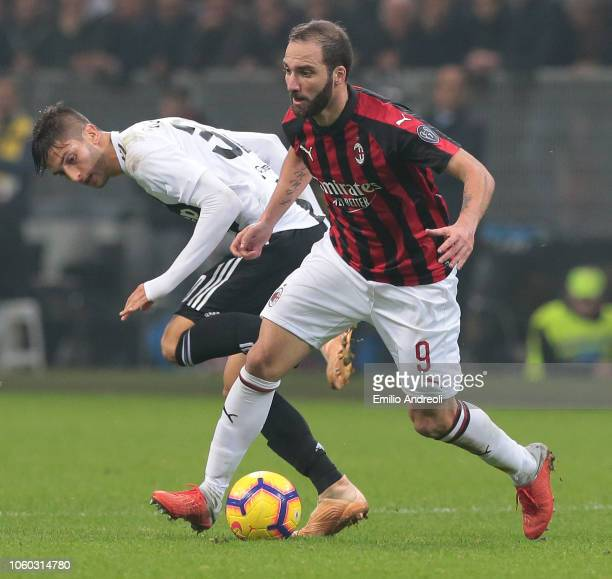 Gonzalo Higuain of AC Milan is challenged by Rodrigo Bentancur of Juventus FC during the Serie A match between AC Milan and Juventus at Stadio...