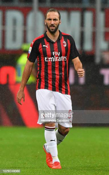 Gonzalo Higuain of AC Milan looks on during the serie A match between AC Milan and AS Roma at Stadio Giuseppe Meazza on August 31 2018 in Milan Italy