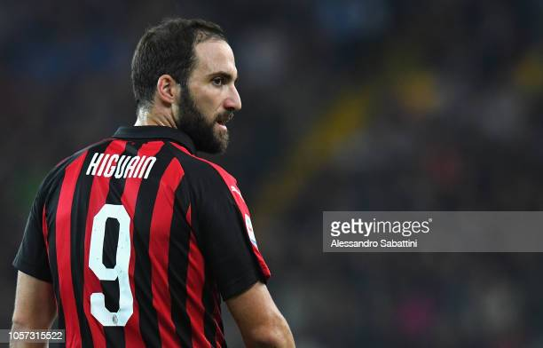 Gonzalo Higuain of AC Milan looks on during the Serie A match between Udinese and AC Milan at Stadio Friuli on November 4 2018 in Udine Italy