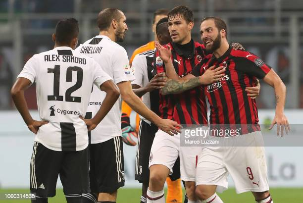 Gonzalo Higuain of AC Milan shows his anger for receiving the red card during the Serie A match between AC Milan and Juventus at Stadio Giuseppe...