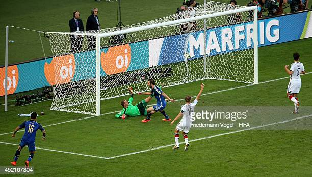 Gonzalo Higuain of Argentina celebrates a disallowed goal during the 2014 FIFA World Cup Brazil Final match between Germany and Argentina at Maracana...