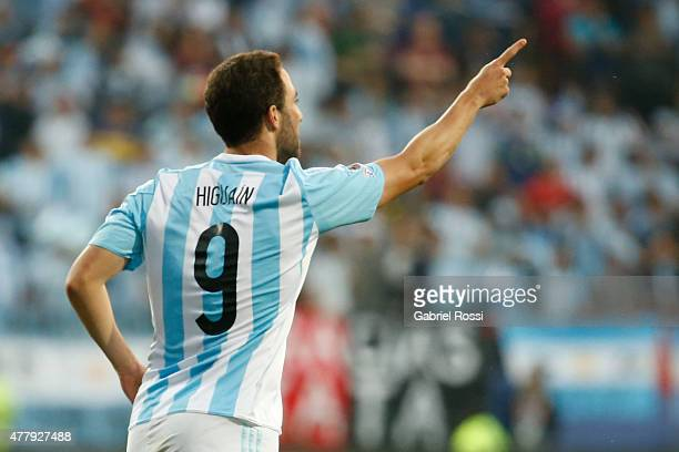 Gonzalo Higuain of Argentina celebrates after scoring the opening goal during the 2015 Copa America Chile Group B match between Argentina and Jamaica...