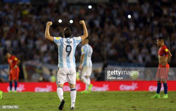 Gonzalo Higuain of Argentina celebrates at the end of a match between Argentina and Chile as part of FIFA 2018 World Cup Qualifiers at Monumental...