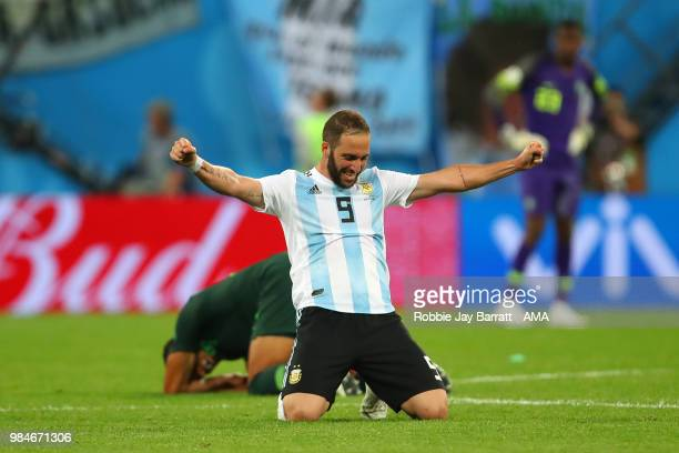Gonzalo Higuain of Argentina celebrates at the end of the 2018 FIFA World Cup Russia group D match between Nigeria and Argentina at Saint Petersburg...