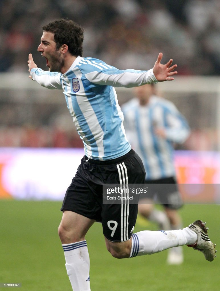 Gonzalo Higuain of Argentina celebrates during the International Friendly match between Germany and Argentina at the Allianz Arena on March 3, 2010 in Munich, Germany.