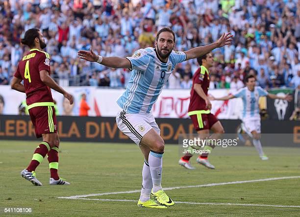 Gonzalo Higuain of Argentina celebrates his goal during the 2016 Copa America Centenario quarterfinal match against Venezuela at Gillette Stadium on...