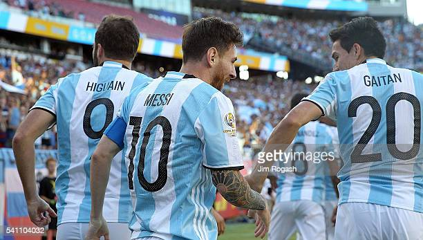 Gonzalo Higuain of Argentina celebrates his goal with Nicolas Gaitan and Lionel Messi during the 2016 Copa America Centenario quarterfinal match...
