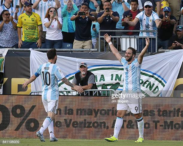 Gonzalo Higuain of Argentina celebrates his second goal with Lionel Messi of Argentina in the first half during the 2016 Copa America Centenario...