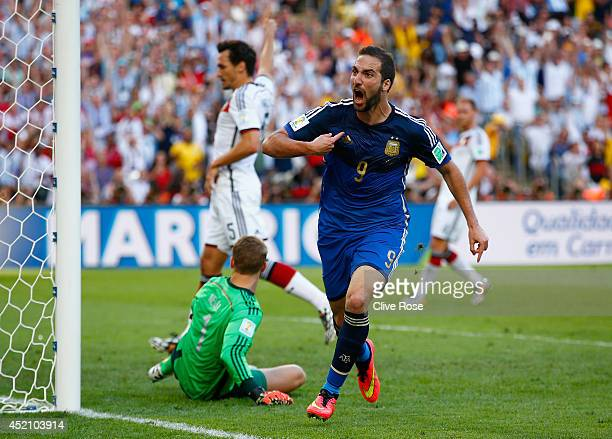 Gonzalo Higuain of Argentina celebrates scoring a disallowed goal past Manuel Neuer of Germany during the 2014 FIFA World Cup Brazil Final match...