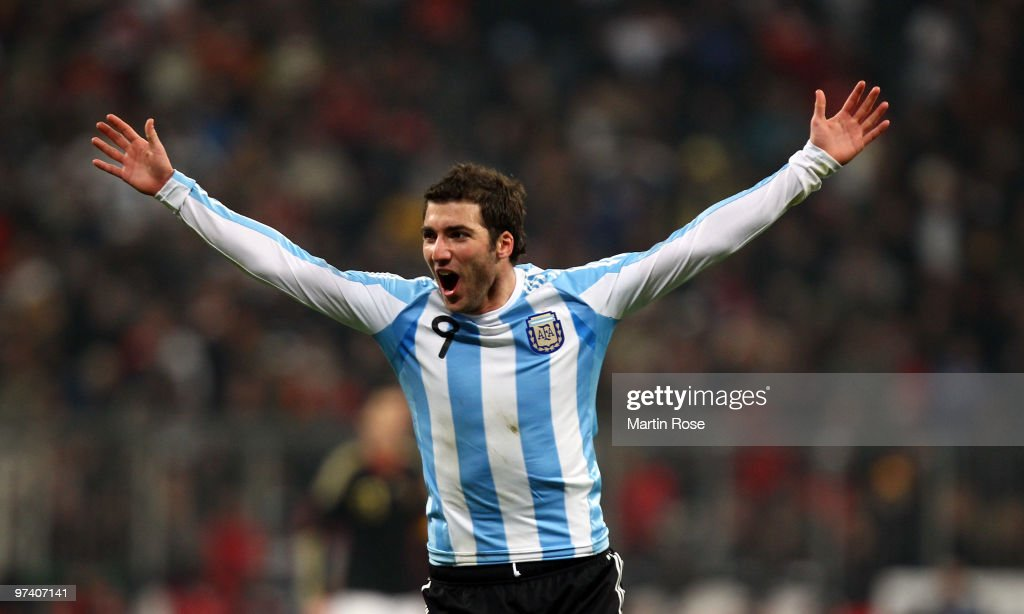 Gonzalo Higuain (#9) of Argentina celebrates scoring his team's opening goal during the International Friendly match between Germany and Argentina at the Allianz Arena on March 3, 2010 in Munich, Germany.