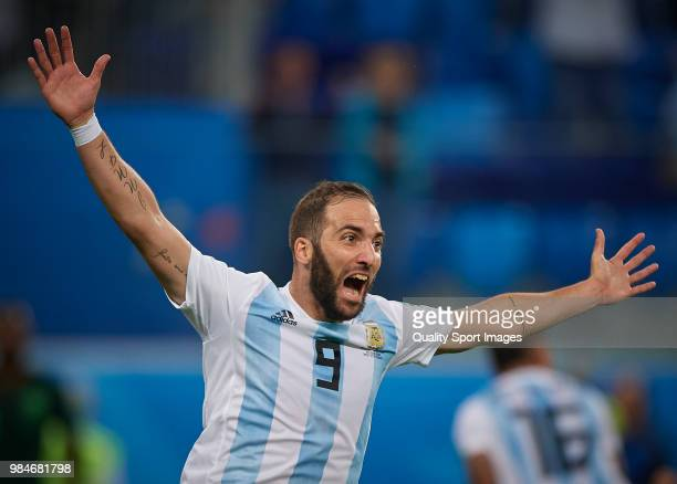 Gonzalo Higuain of Argentina celebrates the victory at the end of the 2018 FIFA World Cup Russia group D match between Nigeria and Argentina at Saint...