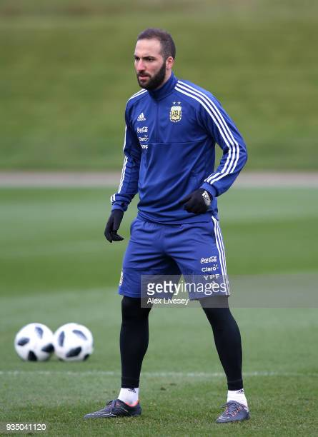 Gonzalo Higuain of Argentina during a Argentina training session at Manchester City Football Academy on March 20 2018 in Manchester England
