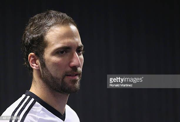 Gonzalo Higuain of Argentina during a press conference at Cidade do Galo on June 27 2014 in Vespasiano Brazil