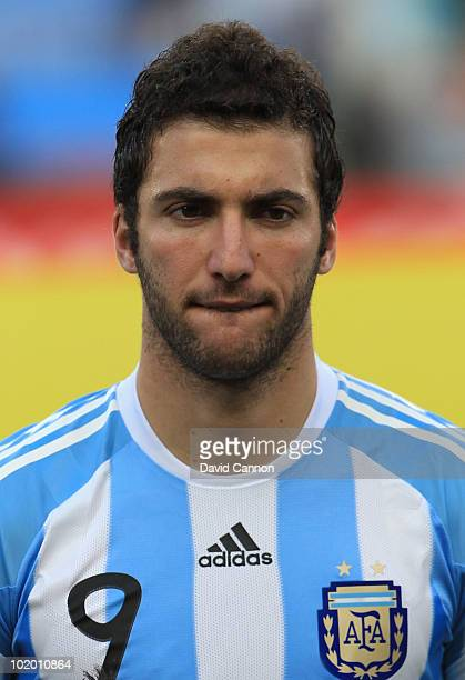 Gonzalo Higuain of Argentina during the 2010 FIFA World Cup South Africa Group B match between Argentina and Nigeria at Ellis Park Stadium on June 12...