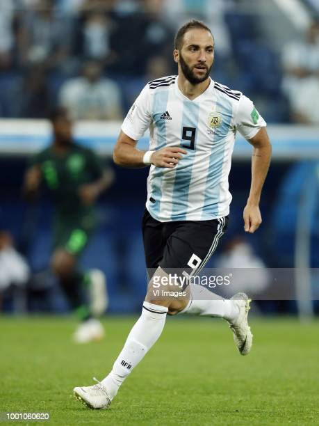 Gonzalo Higuain of Argentina during the 2018 FIFA World Cup Russia group D match between Nigeria and Argentina at the Saint Petersburg Stadium on...