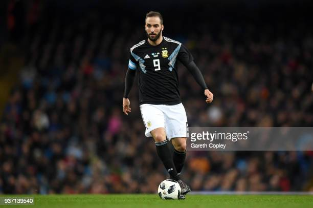 Gonzalo Higuain of Argentina during the International Friendly between Argentina and Italy at Etihad Stadium on March 23 2018 in Manchester England