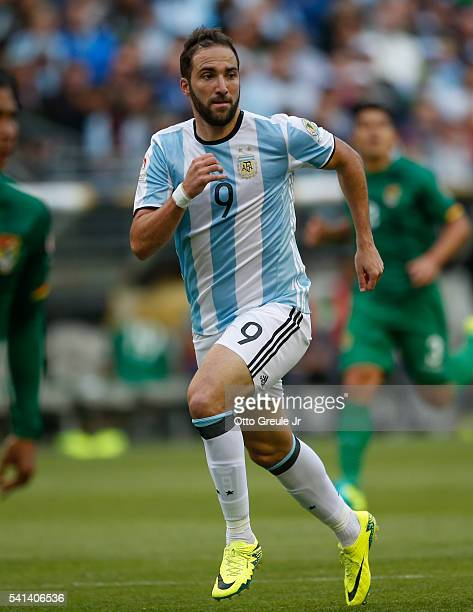 Gonzalo Higuain of Argentina follows the play against Bolivia during the 2016 Copa America Centenario Group D match at CenturyLink Field on June 14...