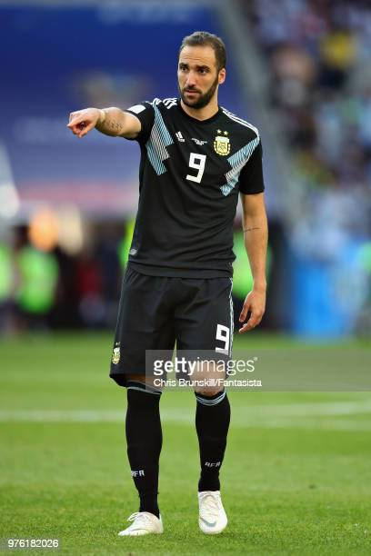 Gonzalo Higuain of Argentina gestures during the 2018 FIFA World Cup Russia group D match between Argentina and Iceland at Spartak Stadium on June 16...
