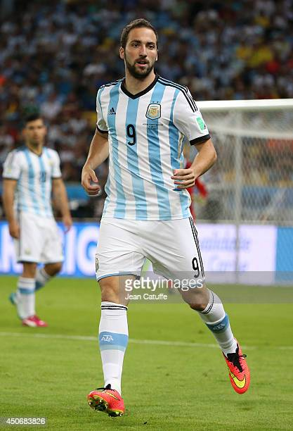 Gonzalo Higuain of Argentina in action during the 2014 FIFA World Cup Brazil Group F match between Argentina and BosniaHerzegovina at Maracana...