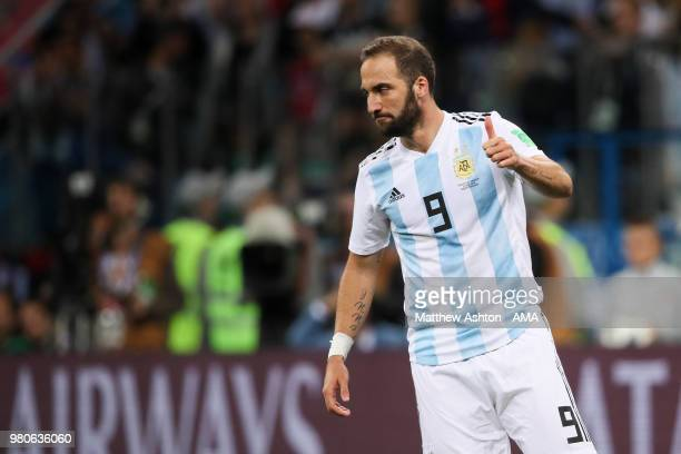 Gonzalo Higuain of Argentina in action during the 2018 FIFA World Cup Russia group D match between Argentina and Croatia at Nizhny Novgorod Stadium...