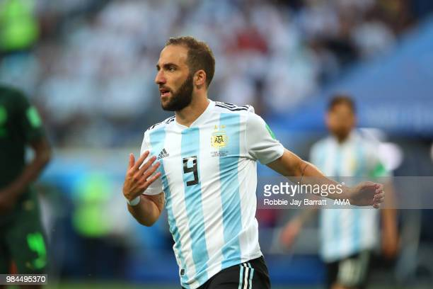 Gonzalo Higuain of Argentina in action during the 2018 FIFA World Cup Russia group D match between Nigeria and Argentina at Saint Petersburg Stadium...