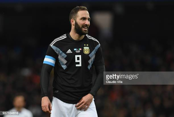 Gonzalo Higuain of Argentina in action during the International friendly match between Italy and Argentina at Etihad Stadium on March 23 2018 in...