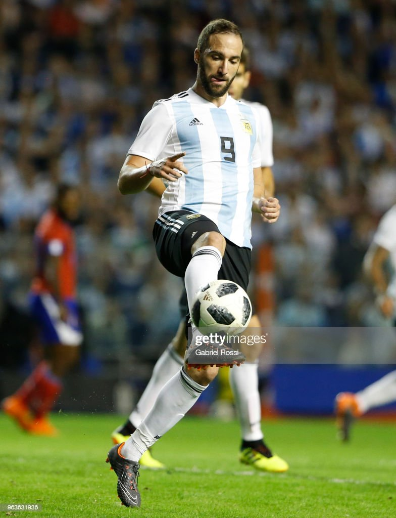 Gonzalo Higuain of Argentina kicks the ball during an international friendly match between Argentina and Haiti at Alberto J. Armando Stadium on May 29, 2018 in Buenos Aires, Argentina.