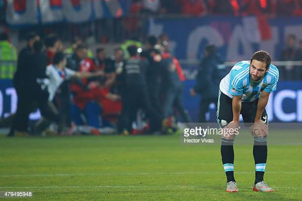 Gonzalo Higuain of Argentina looks dejected after the 2015 Copa America Chile Final match between Chile and Argentina at Nacional Stadium on July 04...