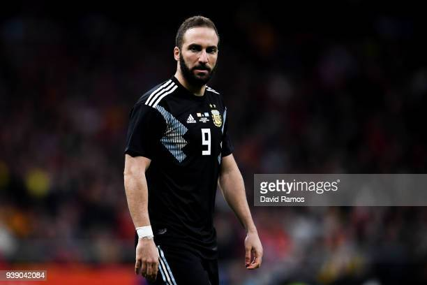 Gonzalo Higuain of Argentina looks on during an International friendly match between Spain and Argentina at the Wanda Metropolitano stadium on March...