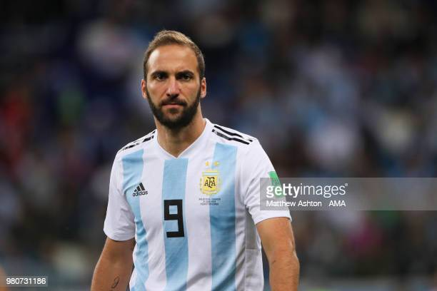 Gonzalo Higuain of Argentina looks on during the 2018 FIFA World Cup Russia group D match between Argentina and Croatia at Nizhny Novgorod Stadium on...