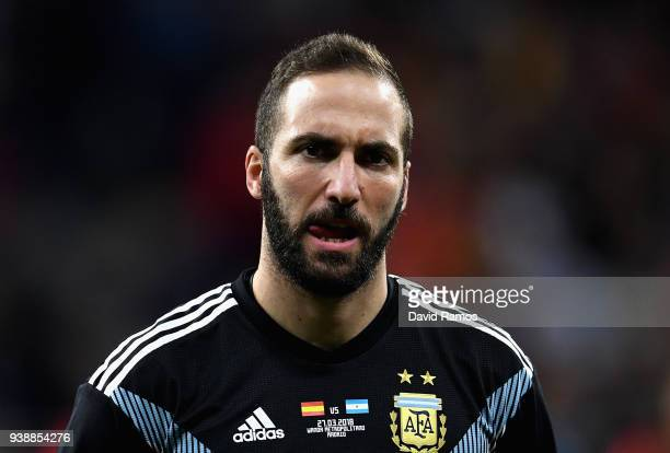 Gonzalo Higuain of Argentina looks on during the International Friendly between Spain and Argentina on March 27 2018 in Madrid Spain