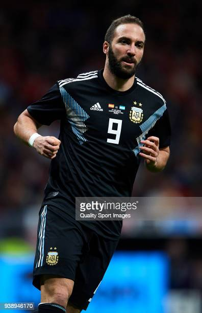 Gonzalo Higuain of Argentina looks on during the international friendly match between Spain and Argentina at Wanda Metropolitano stadium on March 27...