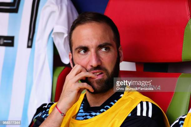 Gonzalo Higuain of Argentina looks on from the substitutes bench during the 2018 FIFA World Cup Russia Round of 16 match between France and Argentina...