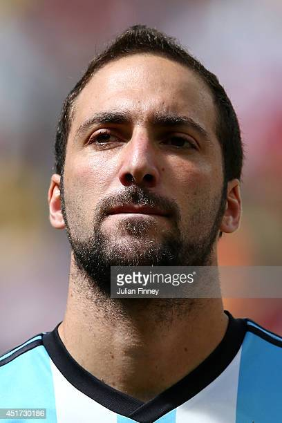 Gonzalo Higuain of Argentina looks on prior to the 2014 FIFA World Cup Brazil Quarter Final match between Argentina and Belgium at Estadio Nacional...