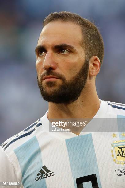 Gonzalo Higuain of Argentina looks on prior to the 2018 FIFA World Cup Russia group D match between Nigeria and Argentina at Saint Petersburg Stadium...