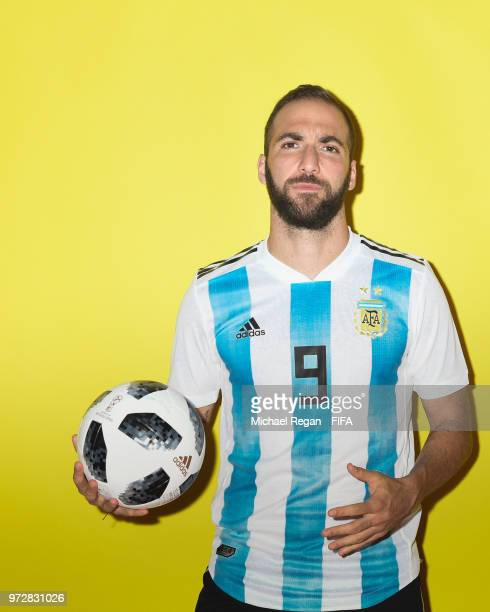 Gonzalo Higuain of Argentina poses during the official FIFA World Cup 2018 portrait session at on June 12 2018 in Moscow Russia