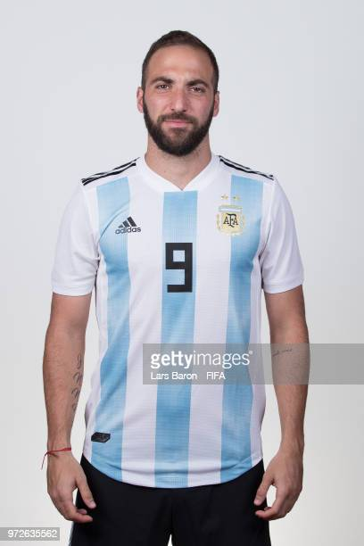 Gonzalo Higuain of Argentina poses for a portrait during the official FIFA World Cup 2018 portrait session on June 12 2018 in Moscow Russia