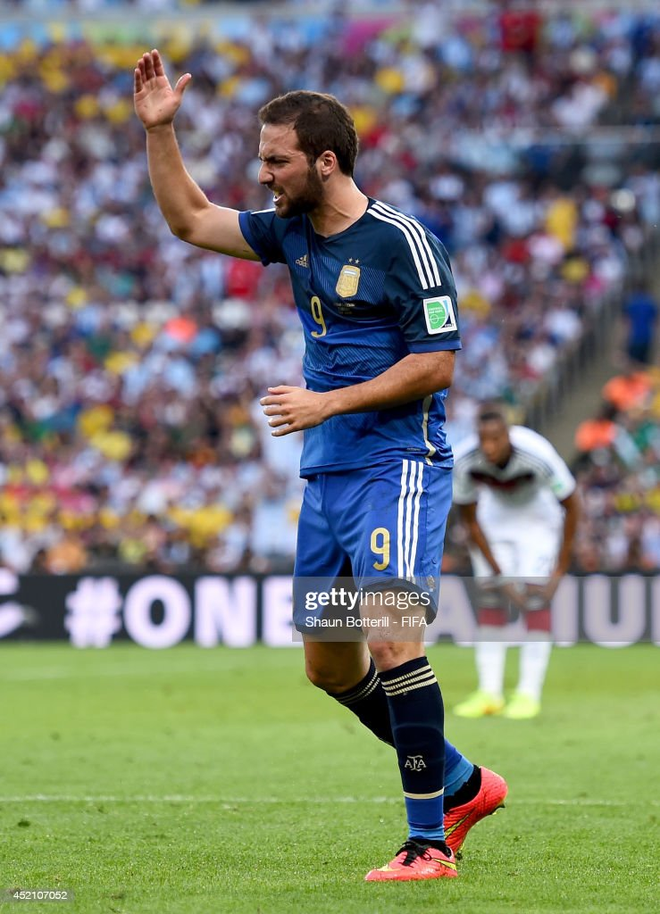Gonzalo Higuain of Argentina reacts after a collision during the 2014 FIFA World Cup Brazil Final match between Germany and Argentina at Maracana on July 13, 2014 in Rio de Janeiro, Brazil.