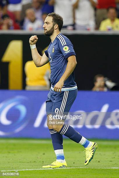 Gonzalo Higuain of Argentina reacts after scoring a goal in the second half against the United States during a 2016 Copa America Centenario Semifinal...