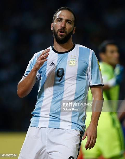 Gonzalo Higuain of Argentina reacts during a match between Argentina and Paraguay as part of FIFA 2018 World Cup Qualifiers at Mario Alberto Kempes...