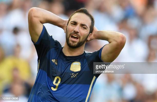 Gonzalo Higuain of Argentina reacts during the FIFA World Cup 2014 final soccer match between Germany and Argentina at the Estadio do Maracana in Rio...
