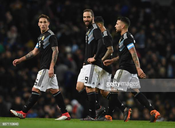 Gonzalo Higuain of Argentina reacts during the International friendly match between Italy and Argentina at Etihad Stadium on March 23 2018 in...