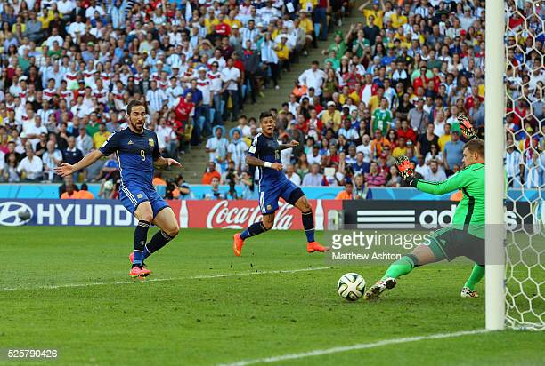 Gonzalo Higuain of Argentina scores a goal but it is disallowed for offside