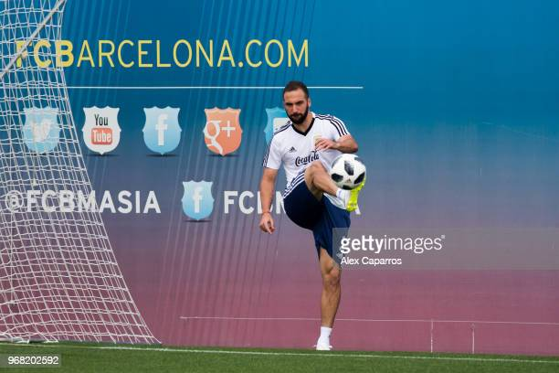 Gonzalo Higuain of Argentina takes part in a training session as part of the team preparation for FIFA World Cup Russia 2018 at FC Barcelona 'Joan...