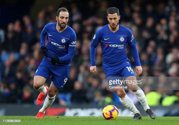 Gonzalo Higuain of Chelsea and Eden Hazard of Chelsea during the Premier League match between Chelsea FC and Huddersfield Town at Stamford Bridge on...